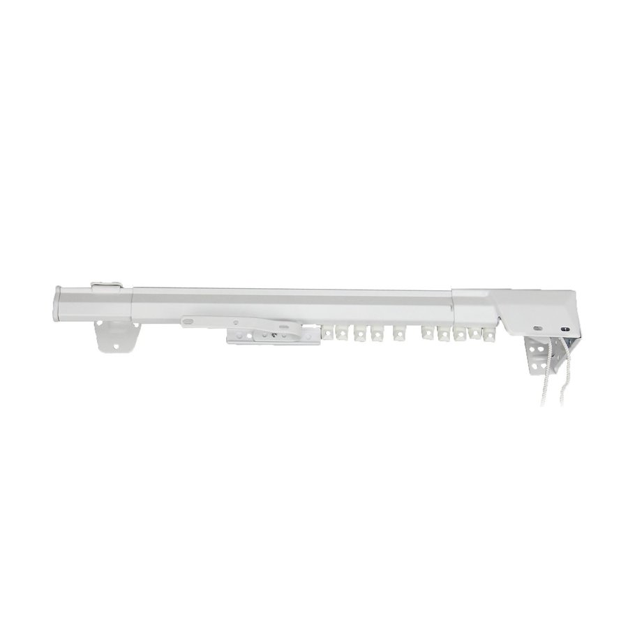 shop rod desyne 84 in to 156 in white steel traverse curtain rod at