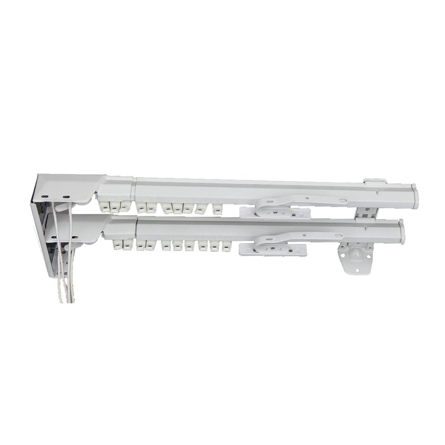 Rod Desyne 84-in to 156-in White Steel Double Traverse Curtain Rod