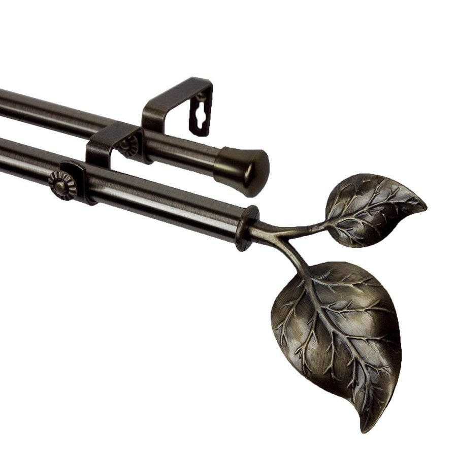 Rod Desyne Modern Ivy 28-in to 48-in Antique Brass Steel Double Curtain Rod