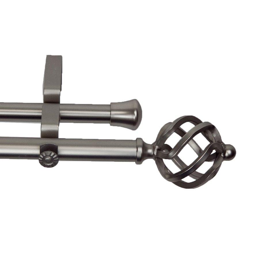 Rod Desyne Modern Twist 120-in to 170-in Satin Nickel Steel Double Curtain Rod