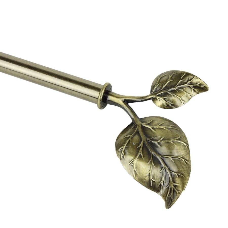 Rod Desyne Modern Ivy 66-in to 120-in Antique Brass Steel Single Curtain Rod