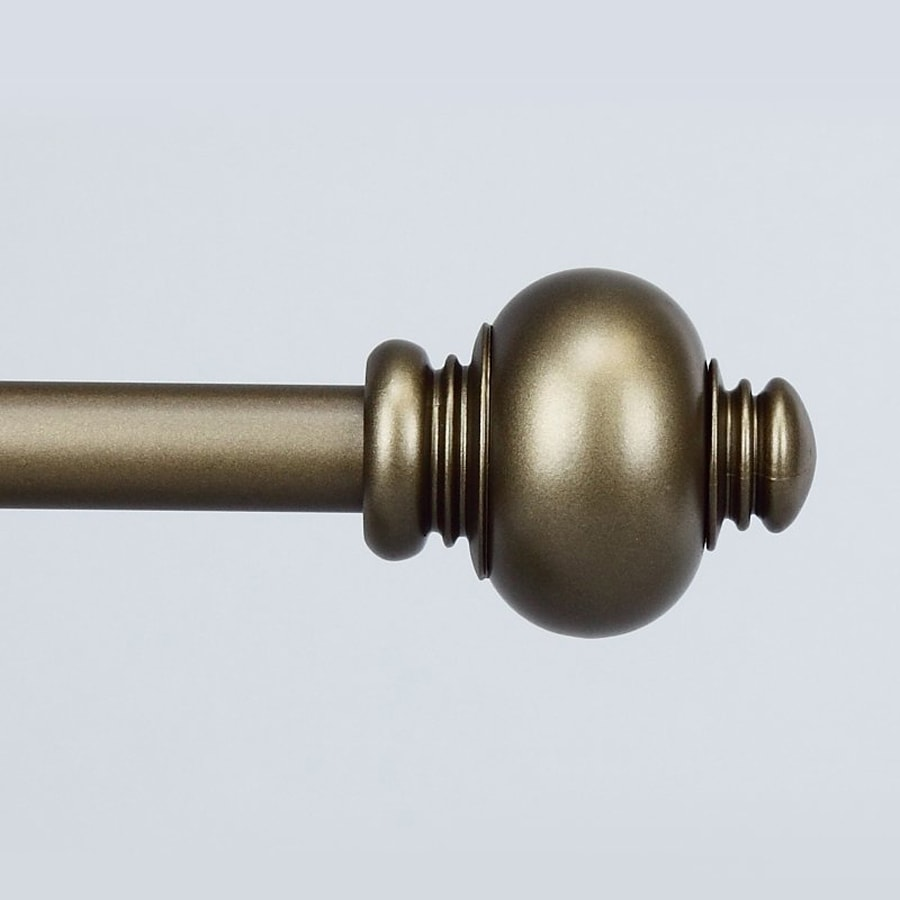 Rod Desyne Classic Knob 28-in to 48-in Antique Gold Steel Single Curtain Rod