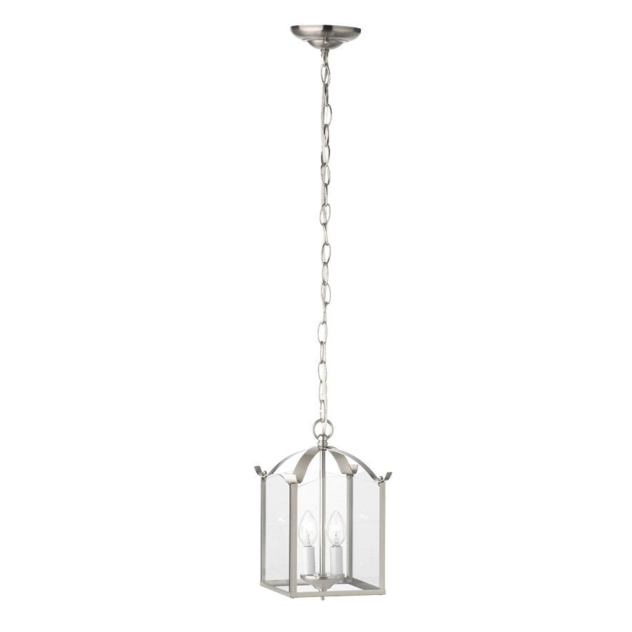 Thomas Lighting 7.25-in Brushed Nickel Country Cottage Mini Clear Glass Lantern Pendant
