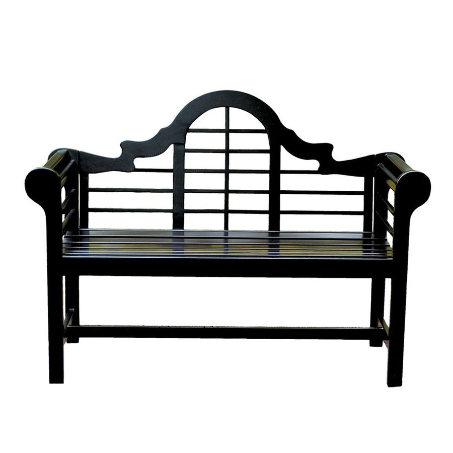 Shop Achla Designs Lutyen 23 In W X 54 In L Black Lacquer Eucalyptus Patio Bench At