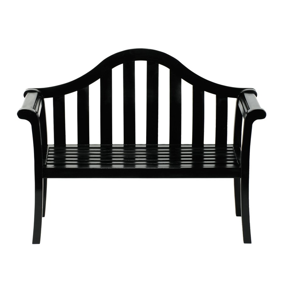 ACHLA Designs Camelback 22-in W x 53-in L Black Lacquer Eucalyptus Patio Bench