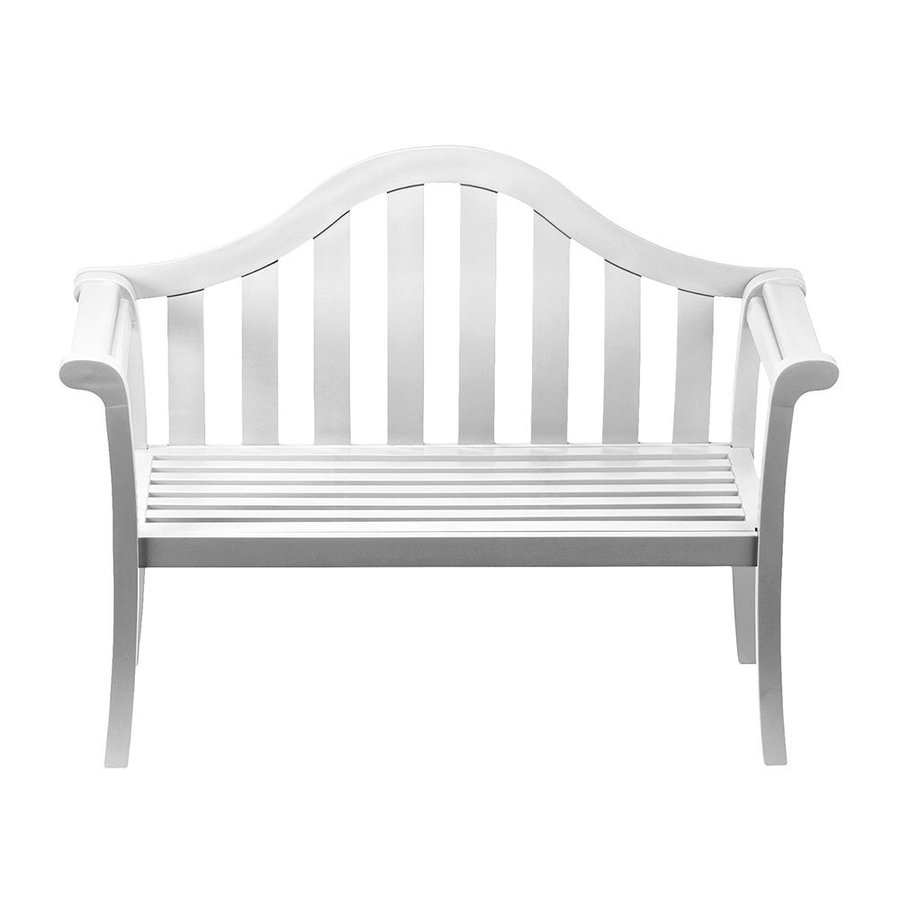 ACHLA Designs Camelback 22-in W x 53-in L White Eucalyptus Patio Bench
