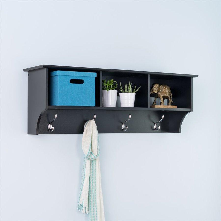 Prepac Furniture Black 8-Hook Mounted Coat Rack