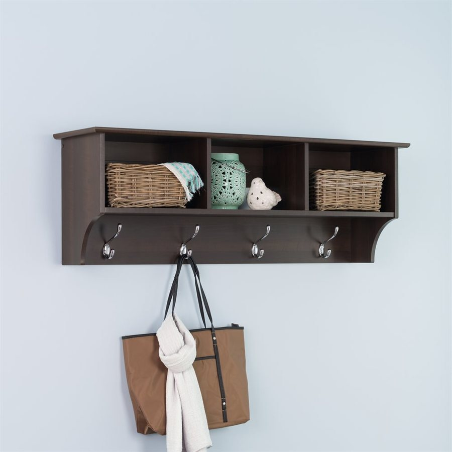 prepac furniture espresso 8hook mounted coat rack
