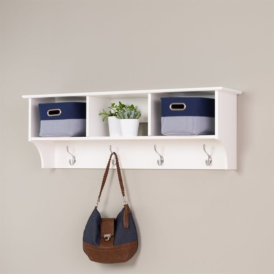 Prepac Furniture White 8-Hook Wall Mounted Coat Rack