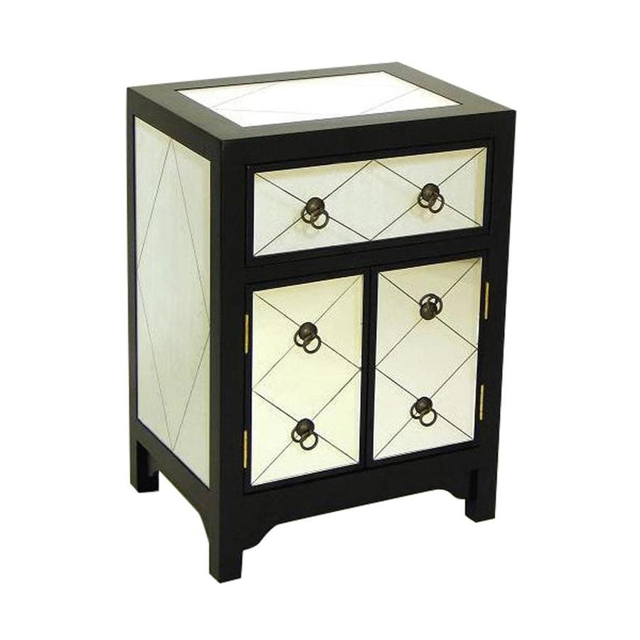 Wayborn Furniture Tanner Black Laquer with Mirror Pine Nightstand