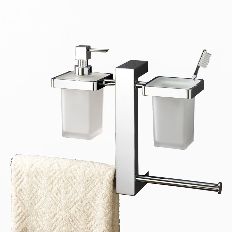 Nameeks Gedy Bridge Chrome Brass Tumbler and Toothbrush Holder