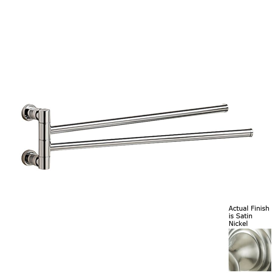Nameeks Cylinder Satin Nickel Double Towel Bar (Common: 18-in; Actual: 18-in)