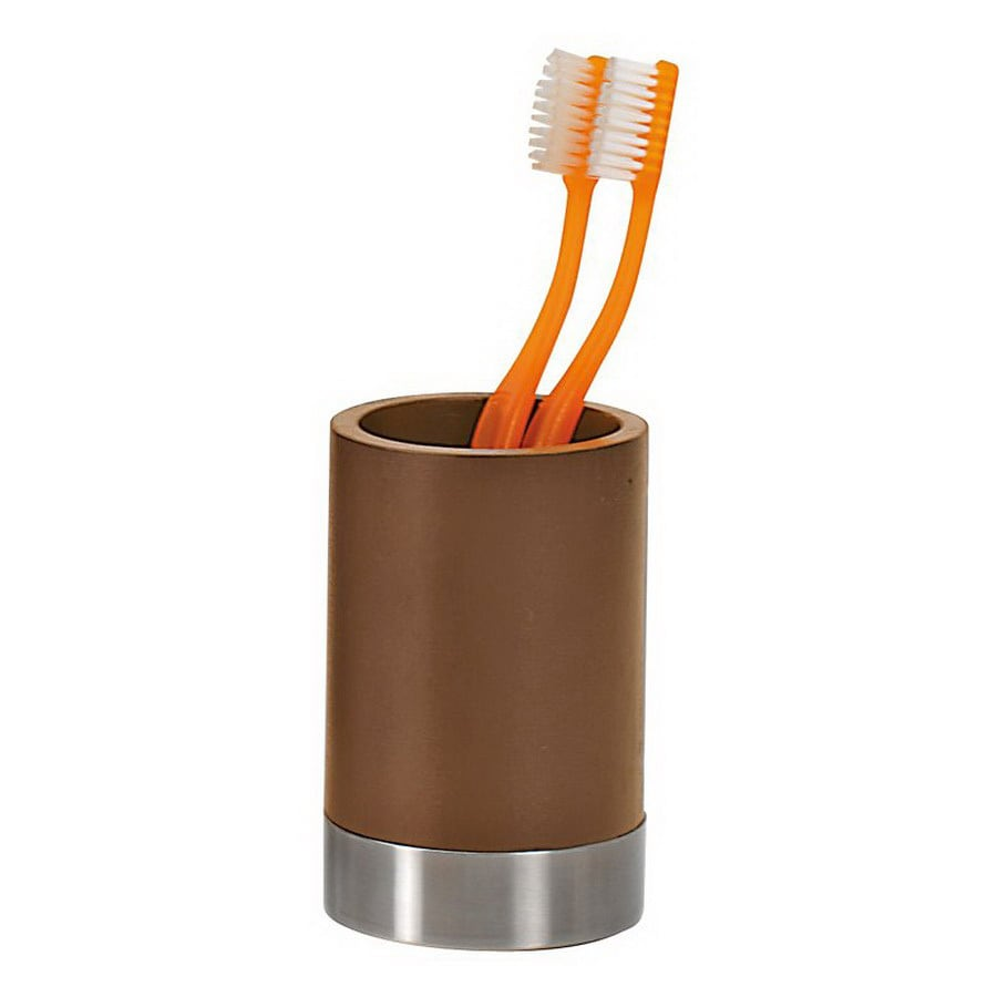 Nameeks Gedy Erica Walnut Wood Tumbler and Toothbrush Holder