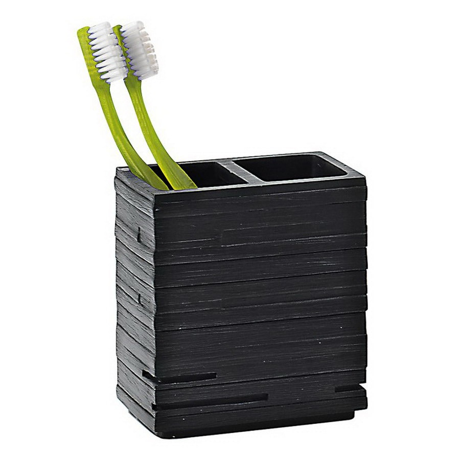 Nameeks Gedy Quadrotto Black Plastic Tumbler and Toothbrush Holder