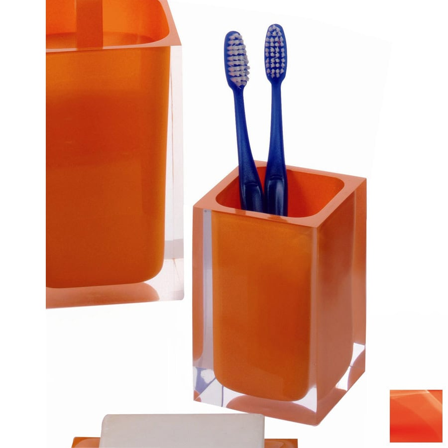 Nameeks Gedy Rainbow Orange Plastic Tumbler and Toothbrush Holder