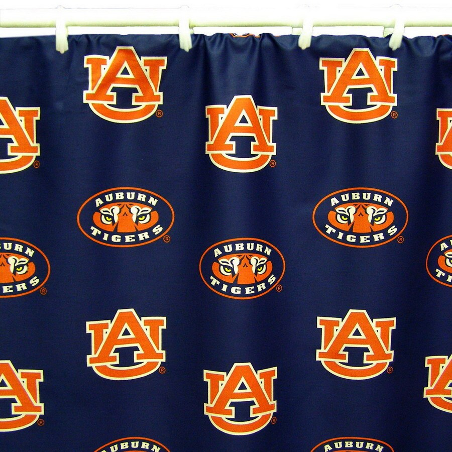 Style selections eva peva print multi fish shower curtain at lowes com - College Covers Auburn Cotton Auburn Tigers Patterned Shower Curtain