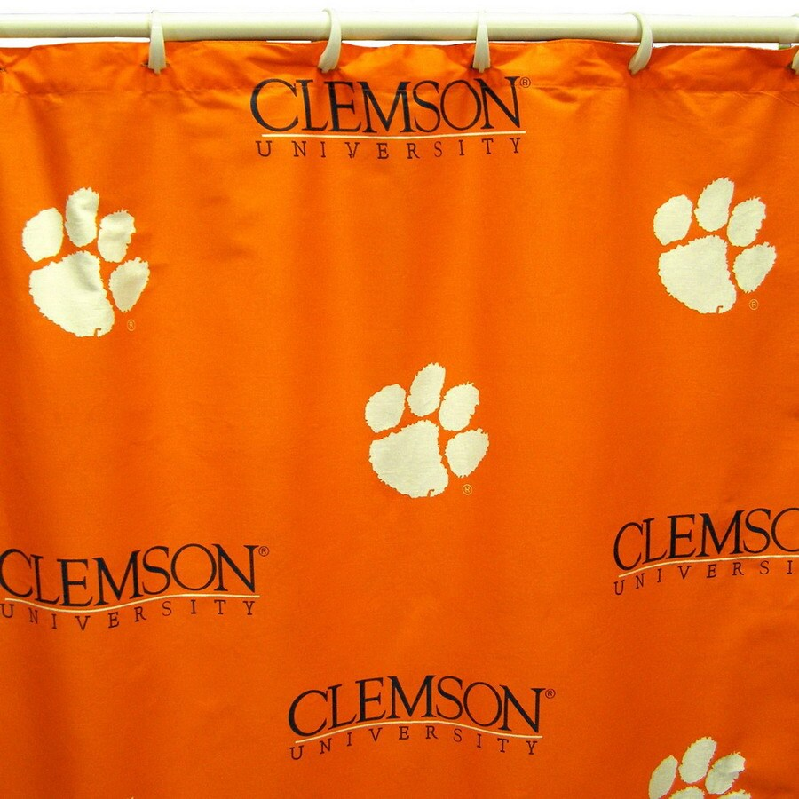 College Covers Clemson Cotton Clemson Tigers Patterned Shower Curtain