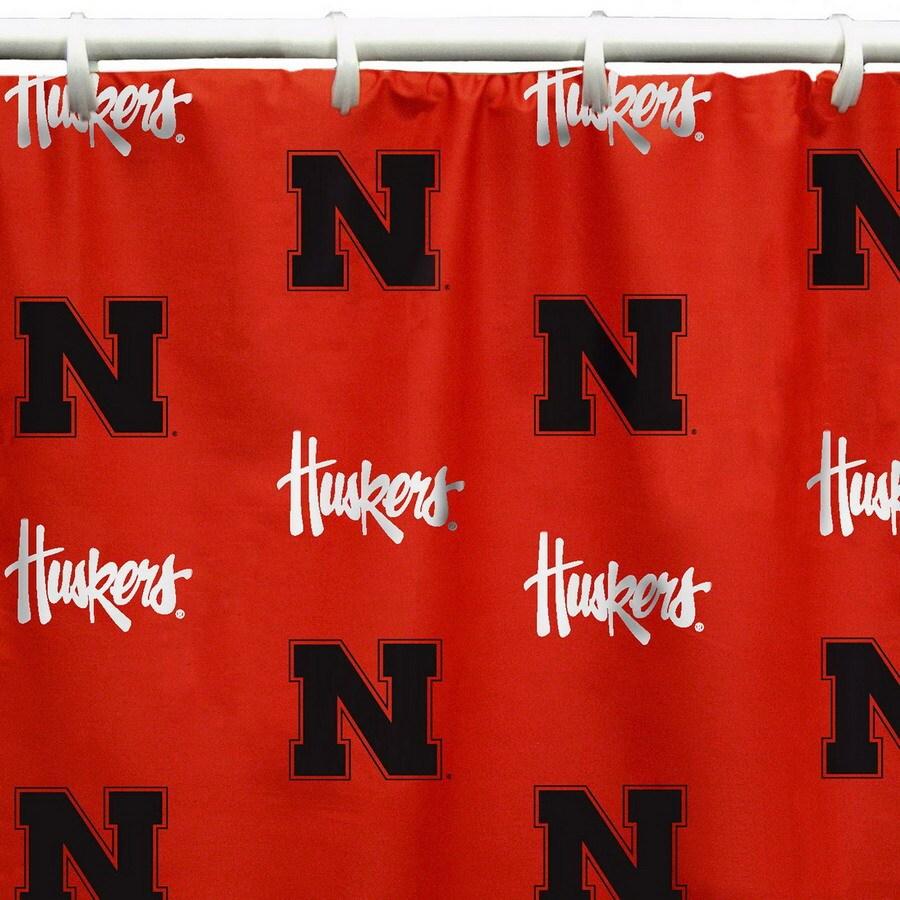 College Covers Nebraska Cotton Nebraska Cornhuskers Patterned Shower Curtain