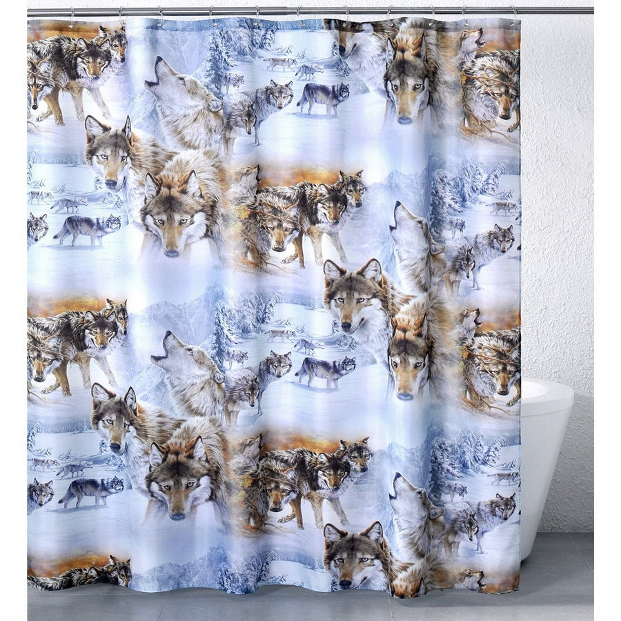 Belle View Casa Bella Polyester Wolves Crossing Animal Shower Curtain