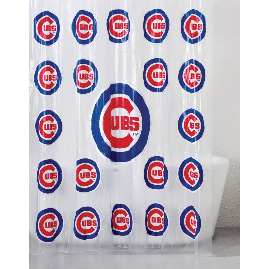 Belle View Vinyl Chicago Cubs Patterned Shower Curtain At Lowes Com