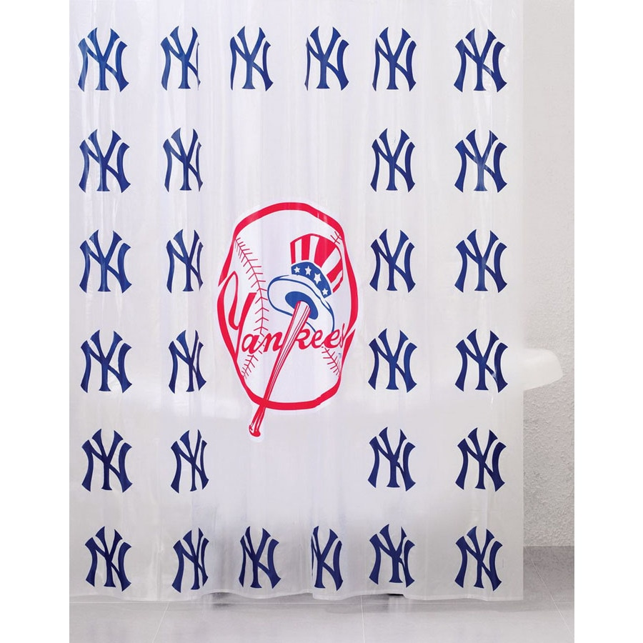 Belle View Vinyl New York Yankees Patterned Shower Curtain