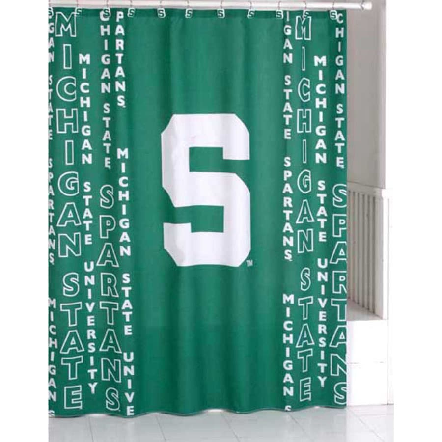 Belle View Michigan State Polyester Spartans Patterned Shower Curtain