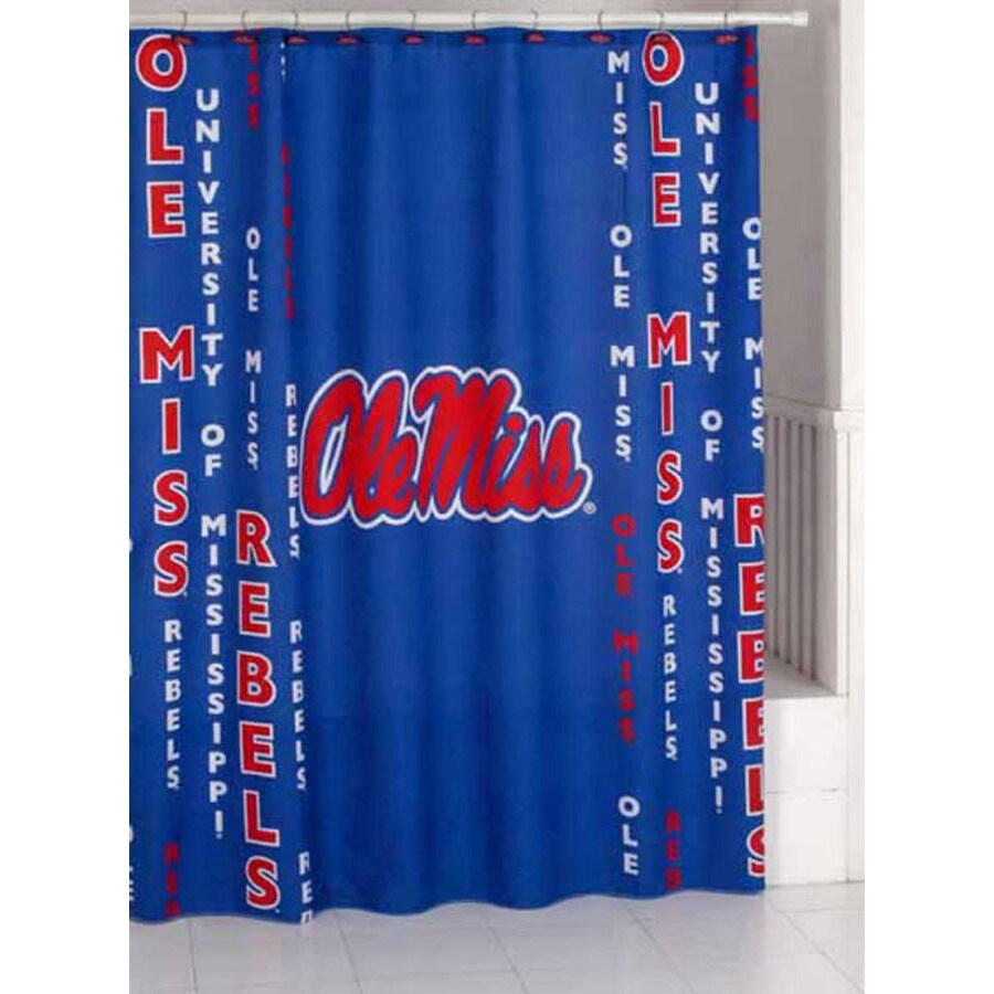 Belle View Polyester Ole Miss Rebels Patterned Shower Curtain