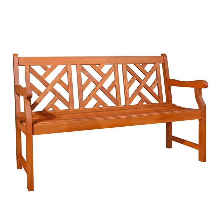 Shop Vifah Atlantic 23 5 In W X 61 In L Eucalyptus Patio Bench At