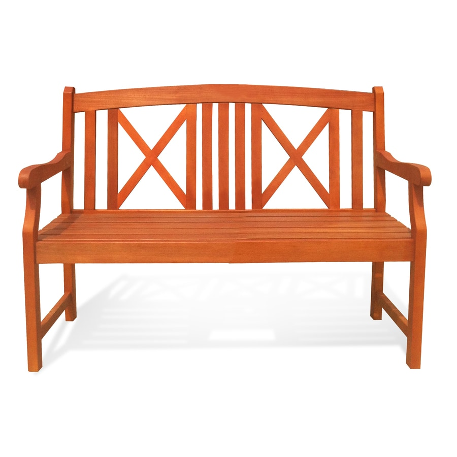 Shop vifah bradley 18 in w x 47 in l eucalyptus patio bench at Lowes garden bench