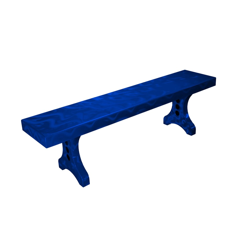 Ofab Designer 14.38-in W x 66-in L Blue Translucent Aluminum Patio Bench