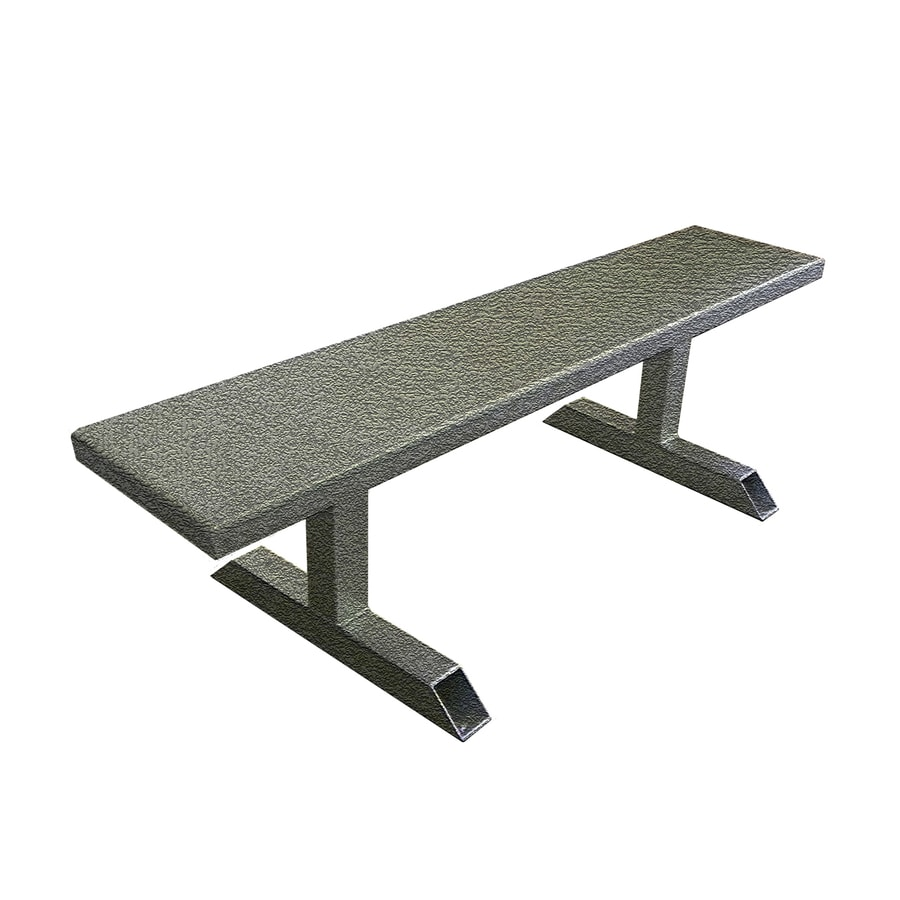 Ofab 14-in W x 66-in L Gray Tatter Aluminum Patio Bench