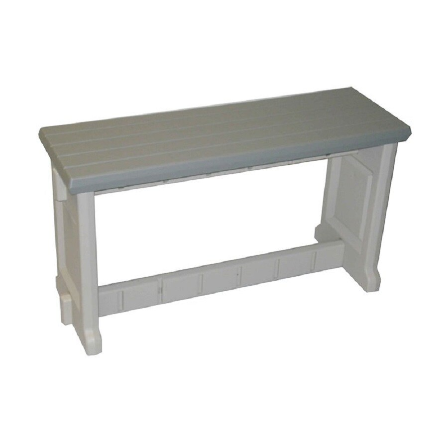 Confer Plastics Patio Essentials 12-in W x 36-in L Gray Plastic Patio Bench