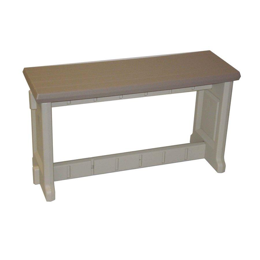 Confer Plastics Patio Essentials 12-in W x 36-in L Taupe Plastic Patio Bench