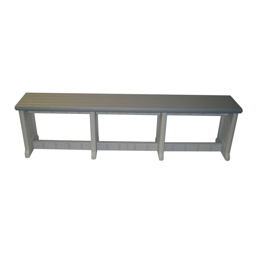 Confer Plastics Patio Essentials 12-in W x 74-in L Gray Plastic Patio Bench