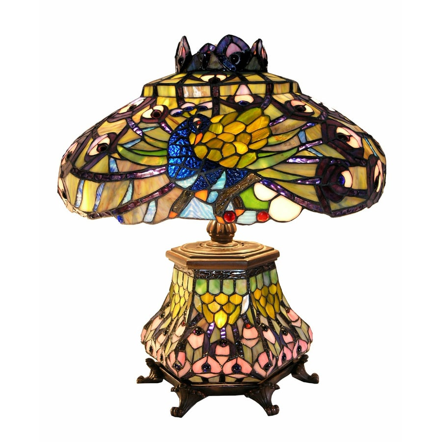 Warehouse of Tiffany Peacock 16-in Bronze Tiffany-Style Table Lamp with Glass Shade