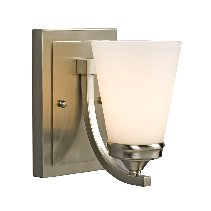 Galaxy Franklin 5.125-in W 1-Light Brushed Nickel Arm Hardwired Wall Sconce