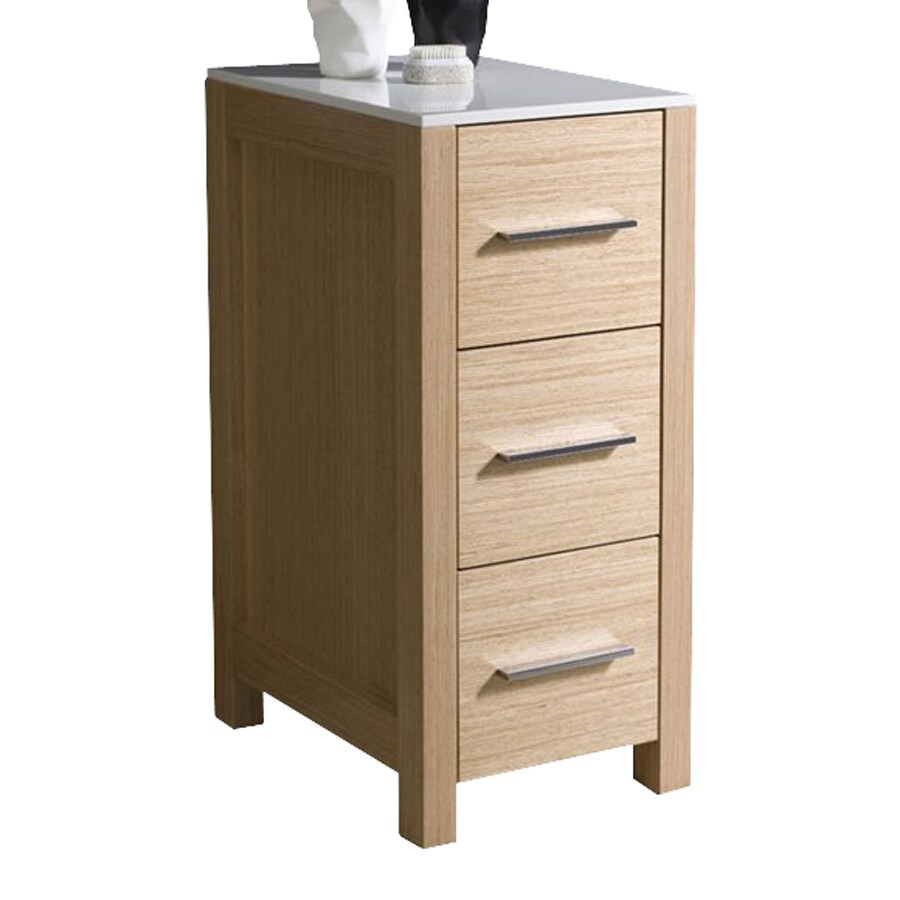 Fresca Torino 12-in W x 28.13-in H x 17.75-in D Light Oak Plywood Freestanding Linen Cabinet