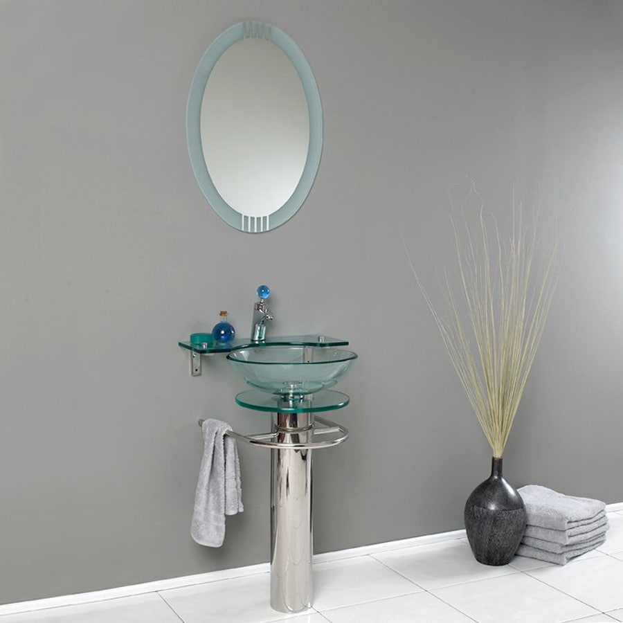 Fresca Vetro Stainless Steel (Common: 24-in x 20-in) Vessel Single Sink Bathroom Vanity with Tempered Glass and Glass Top (Faucet and Mirror Included) (Actual: 24-in x 19.55-in)