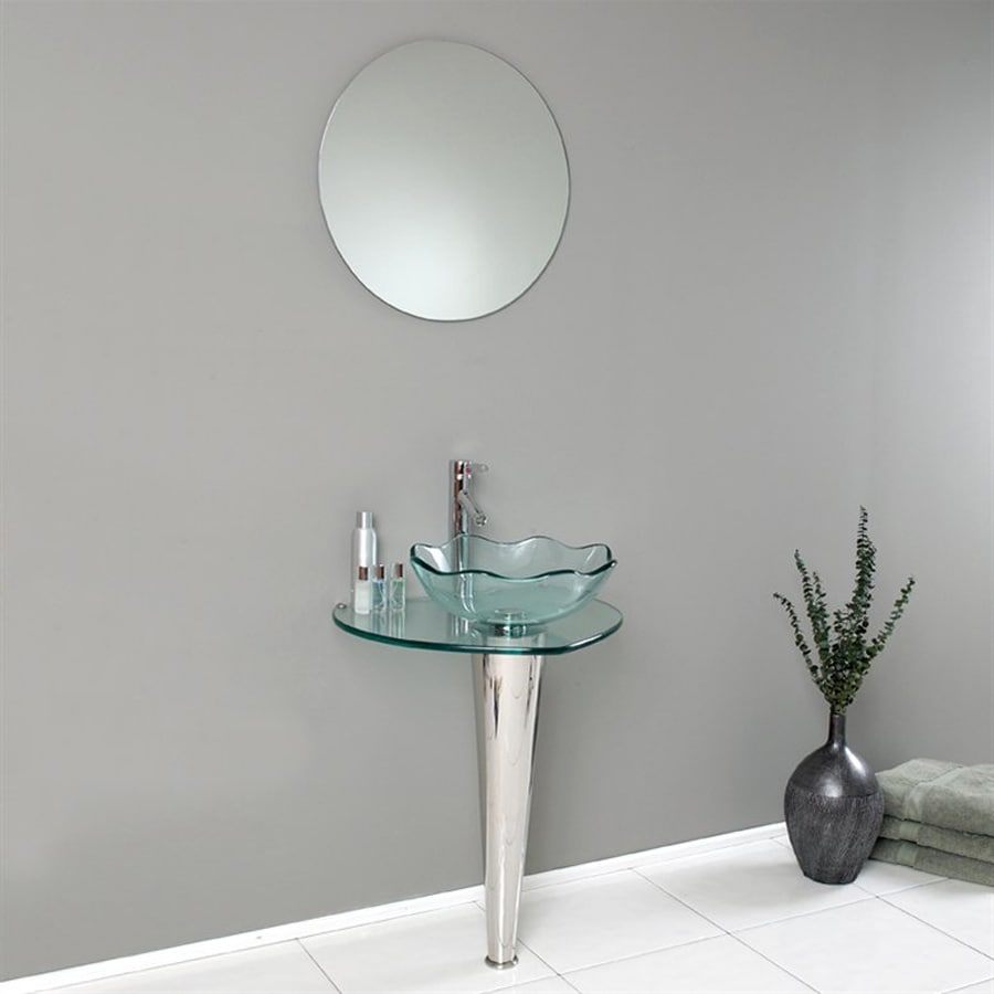 Fresca Vetro Stainless Steel Single Vessel Sink Bathroom Vanity with Tempered Glass and Glass Top (Common: 24-in x 20-in; Actual: 24-in x 20-in)