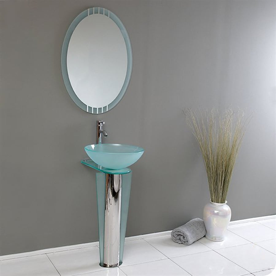 Glass Vanity Tops For Bathrooms : Shop fresca vetro stainless steel single vessel sink