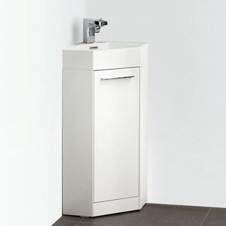 Fresca Lucido White Integrated Single Sink Bathroom Vanity with Acrylic Top