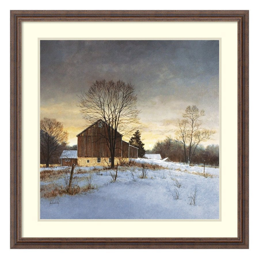 Amanti Art 31.3-in W x 31.3-in H Framed Wood Landscapes Prints Wall Art