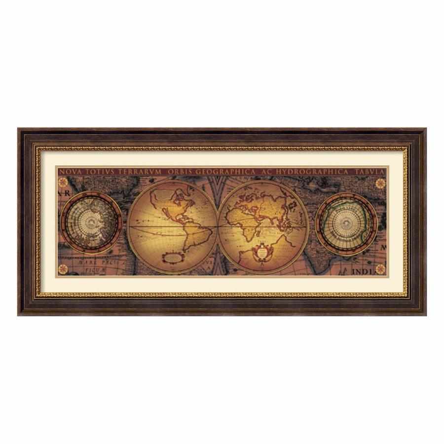 Amanti Art 44.52-in W x 20.52-in H Framed Wood Maps Prints Wall Art
