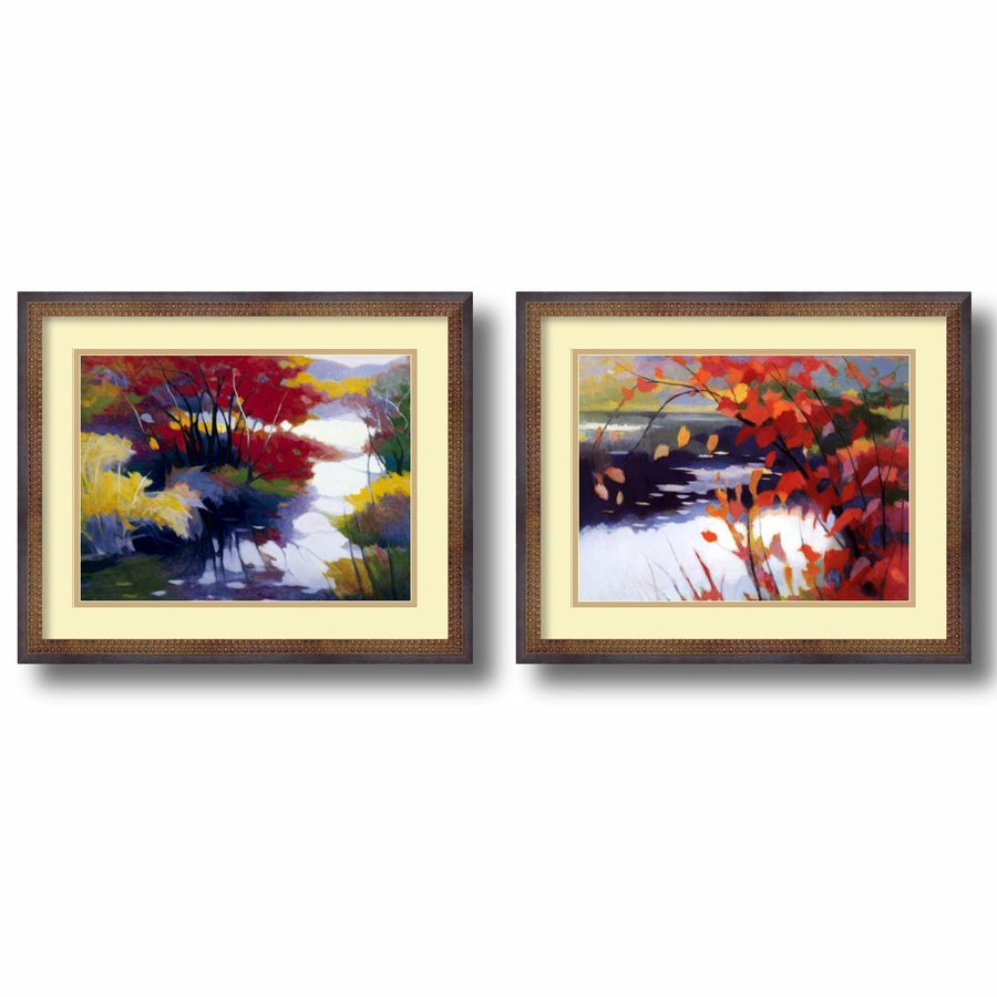 Amanti Art 2-Piece 21.89-in W x 17.89-in H Framed Wood Floral Prints Wall Art