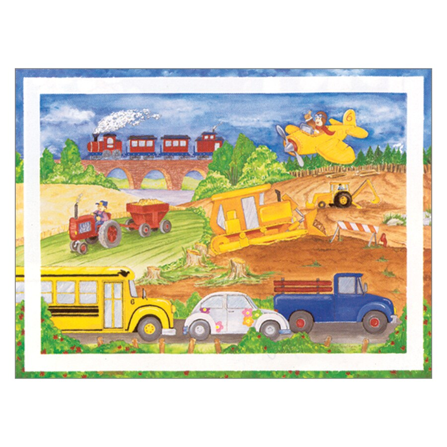 Shop Art 4 Kids 24-in W x 18-in H Cars Trucks Aeroplane Canvas Kids ...