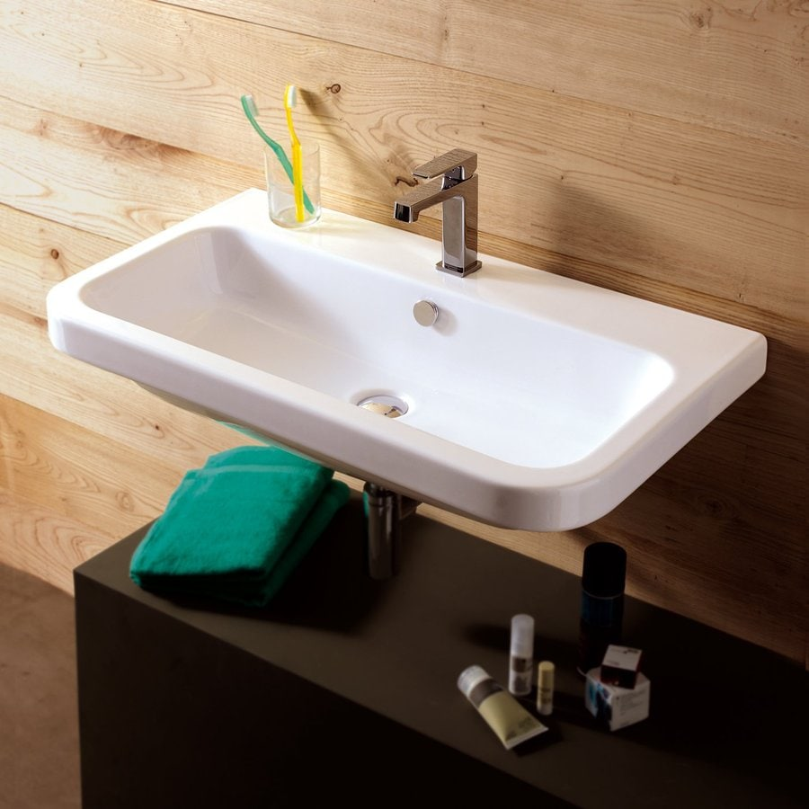 Nameeks Electra White Wall-Mount Rectangular Bathroom Sink with Overflow