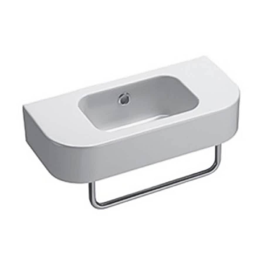 Nameeks Traccia White Ceramic Wall-Mount Rectangular Bathroom Sink with Overflow