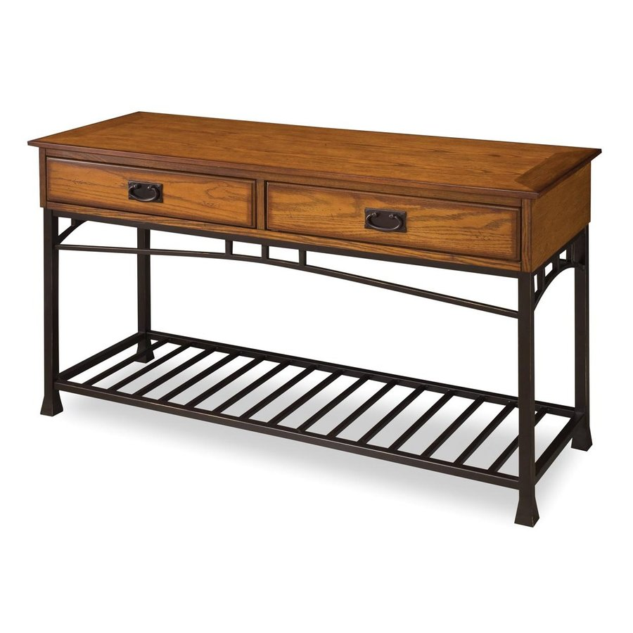 Home Styles Modern Craftsman Oak Poplar Rectangular Sofa Table