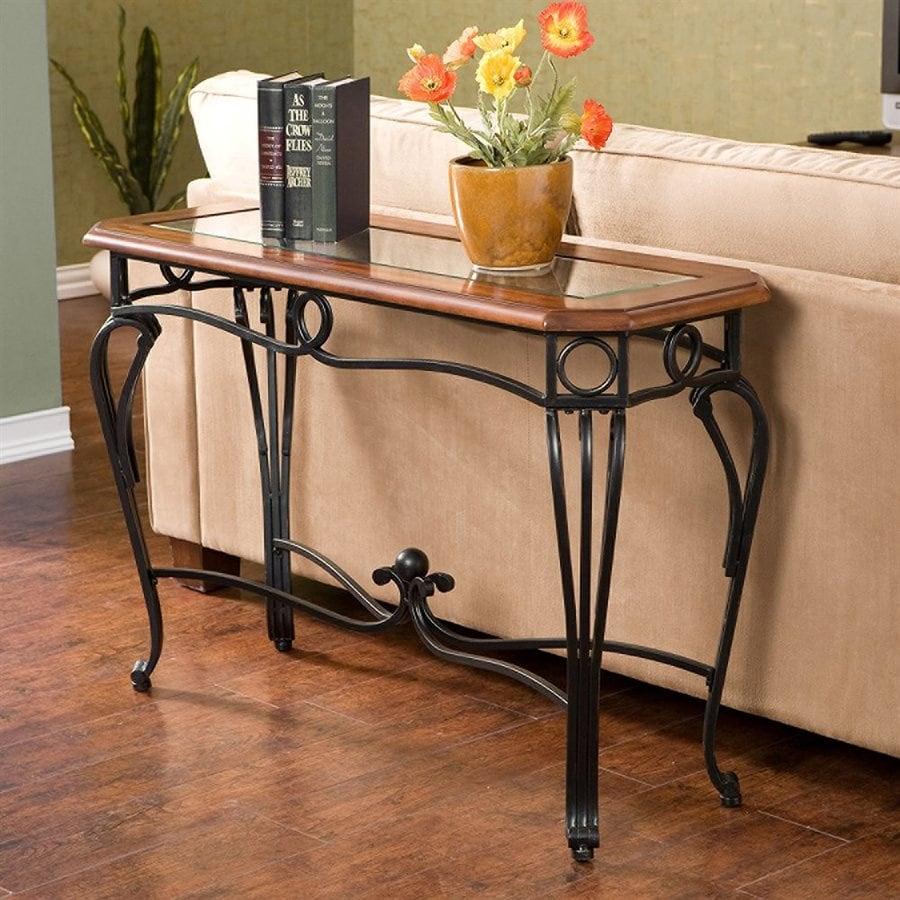 Boston Loft Furnishings Prentice Dark Cherry/Clear Sofa Table