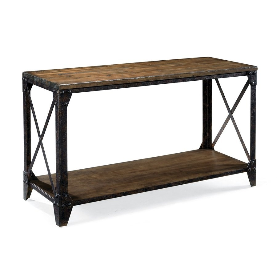 Magnussen Home Pinebrook Distressed-Natural Pine Rectangular Console and Sofa Table